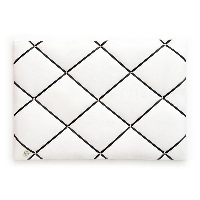 Memoboard Leinen 'Classic' weiß/schwarz 45x65cm