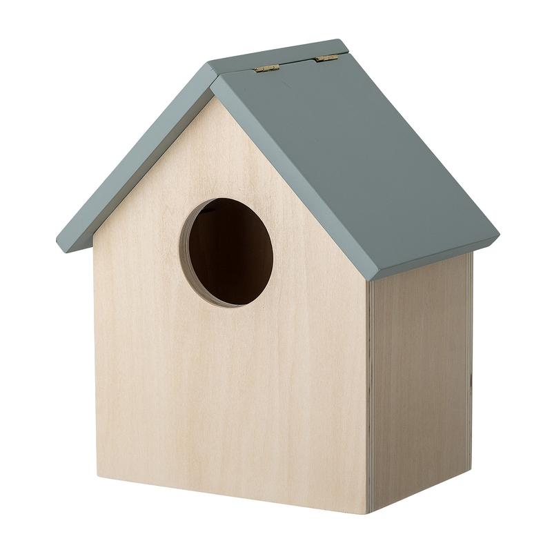 Wandregal 'Vogelhaus' Holz natur/blau