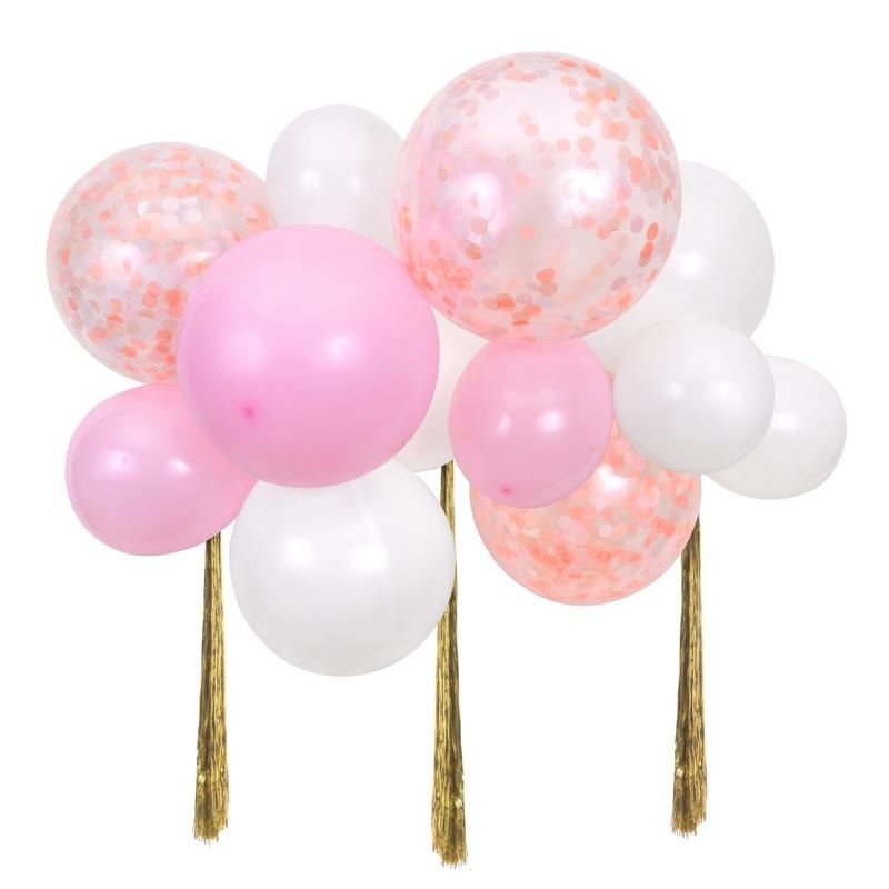 Party Luftballongirlande 'Konfetti' rosa 14-tlg.