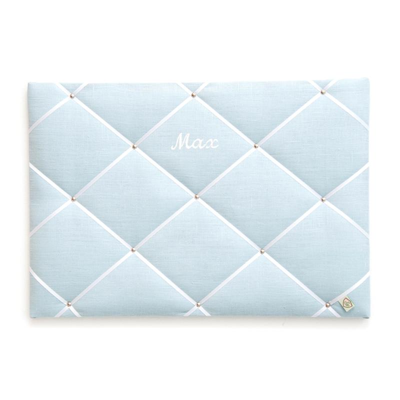 Memoboard Leinen 'Pastell' hellblau personalisiert