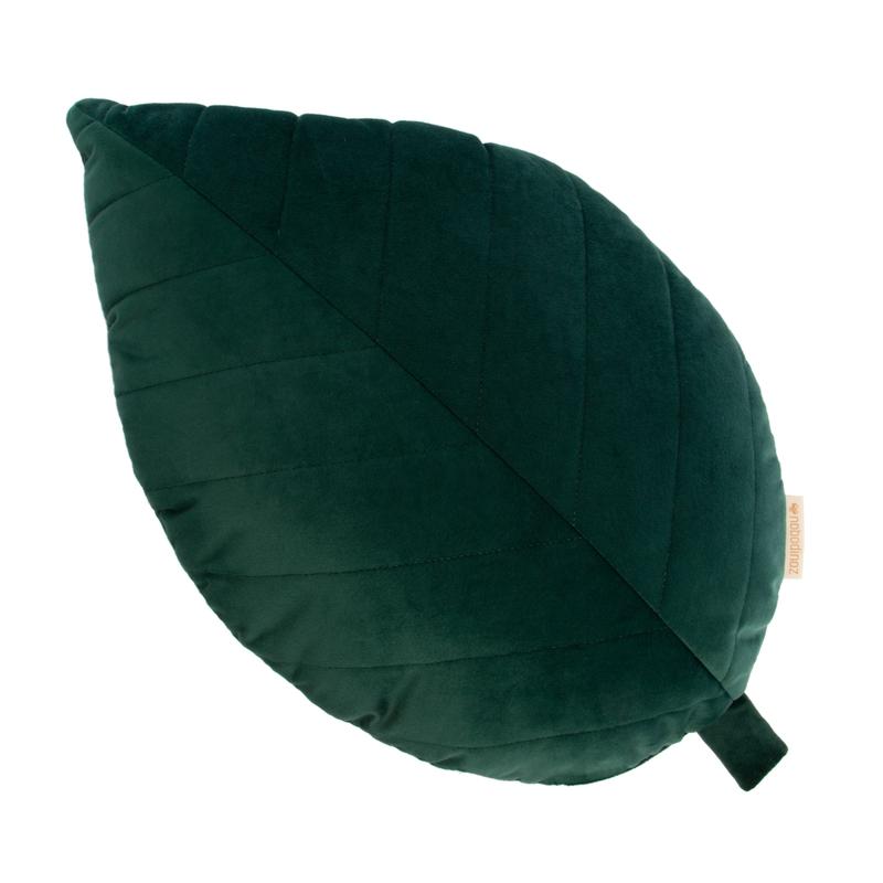 Bio Kissen 'Blatt' aus Samt grün ca. 53cm