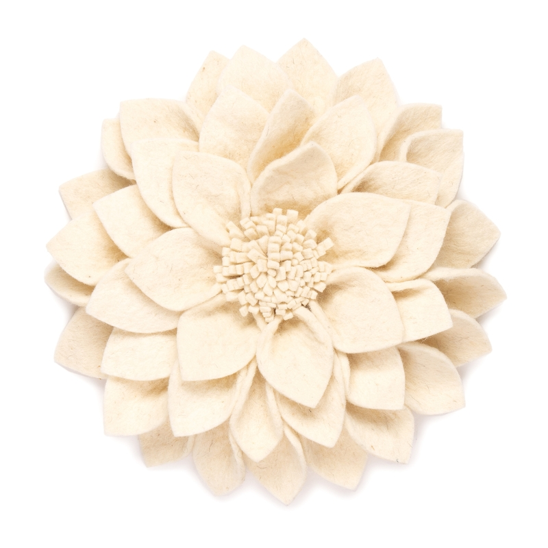 Wandblume aus Filz 'Kuba' creme 30cm