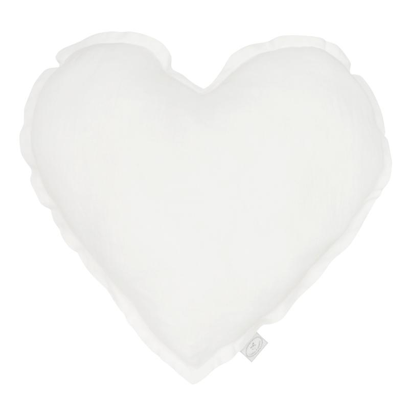 Kissen aus Leinen 'Herz' weiß ca. 40cm