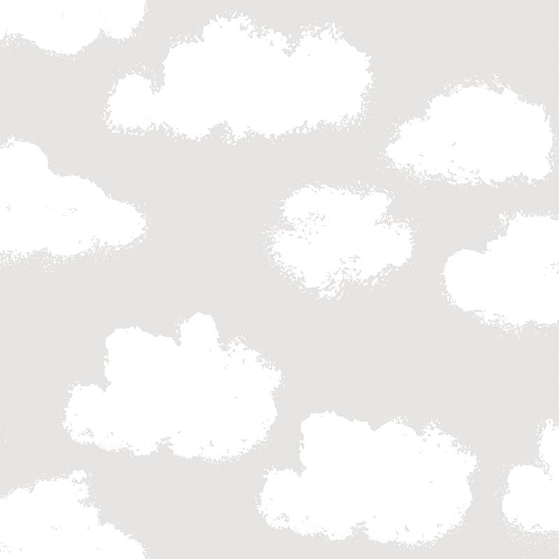 Kindertapete 'Wolken' hellgrau/weiß