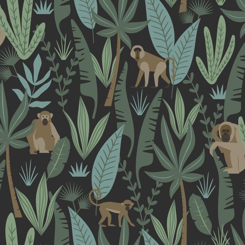 Vliestapete 'Dschungel Affen' schwarz/grün