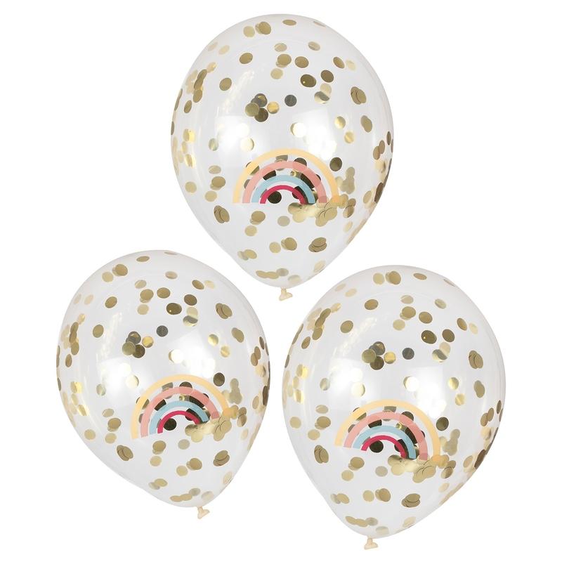 Konfetti-Luftballons 'Regenbogen' gold 5 St.