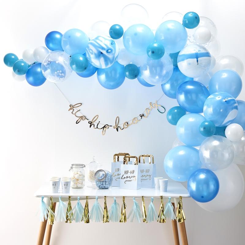 Ballongirlande blau/weiß 70-tlg.