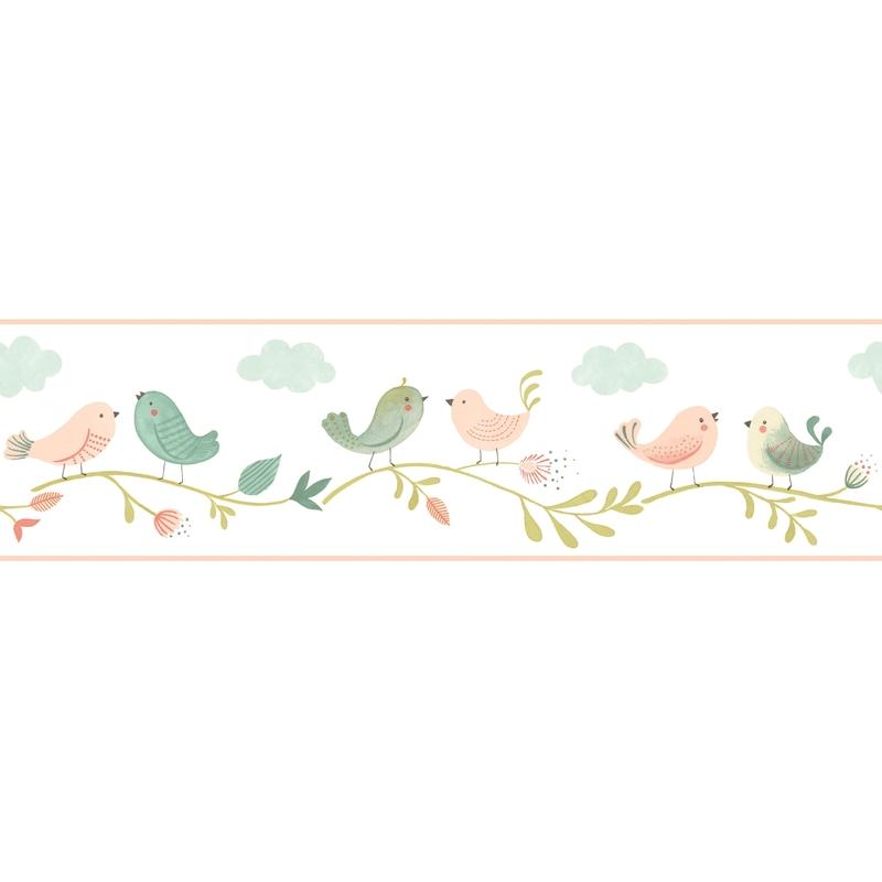 Bordüre 'Rose & Nino' Vögel puder/grün
