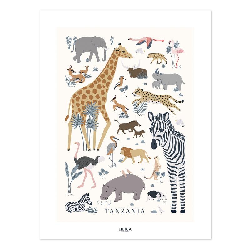 Poster 'Tanzania' Safaritiere 30x40cm