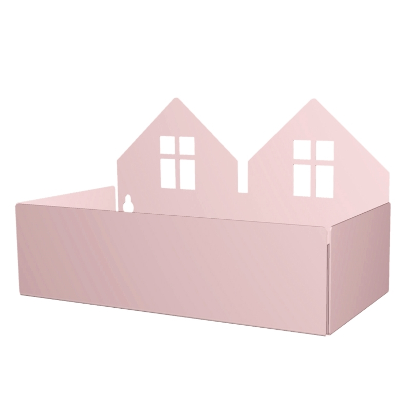 Wandregal 'Häuser' Metall puderrosa 22cm