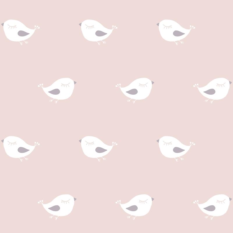 Tapete 'Vögelchen' rosa/weiß/lila