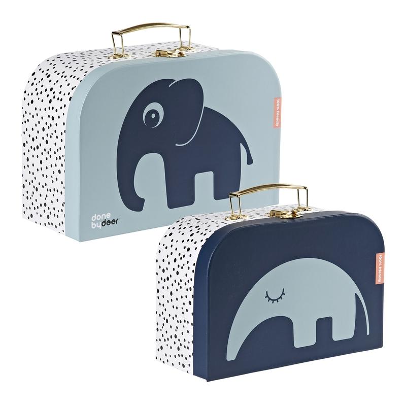 Kinderkoffer 'Elefant/Ameisenbär' blau 2er Set