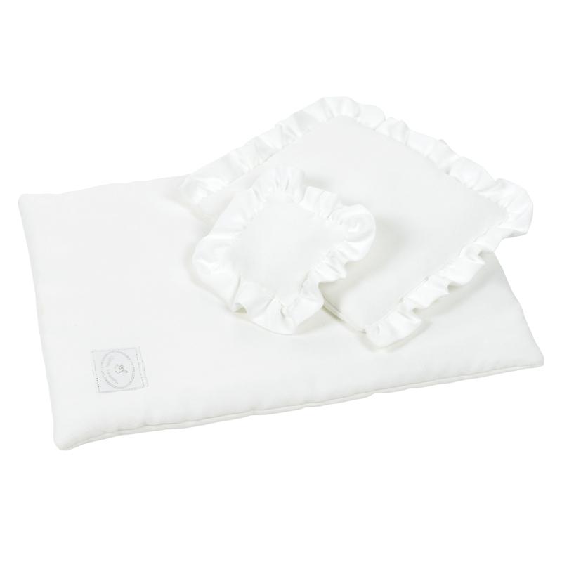 Puppenbettwäsche mit Rüschen weiß