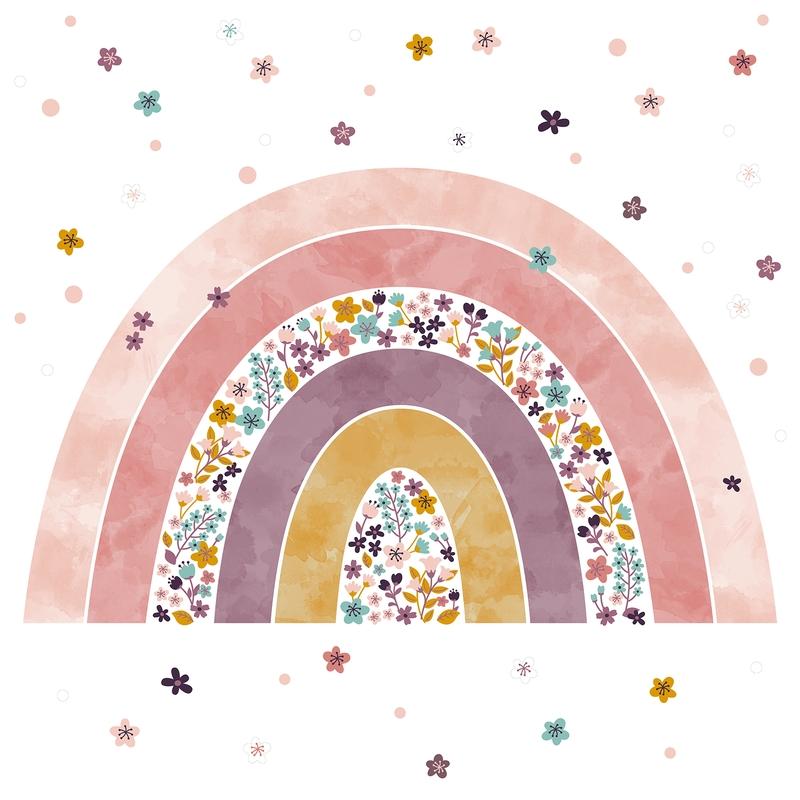XL-Wandsticker aus Stoff 'Regenbogen' rosa