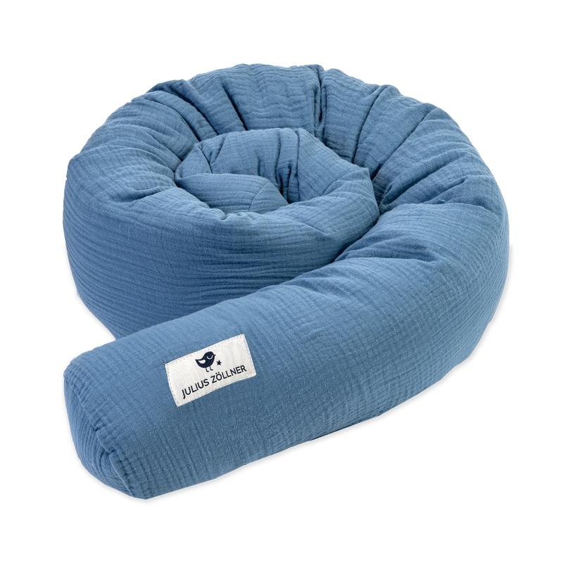 Bettschlange 'Terra' Musselin blau 180cm