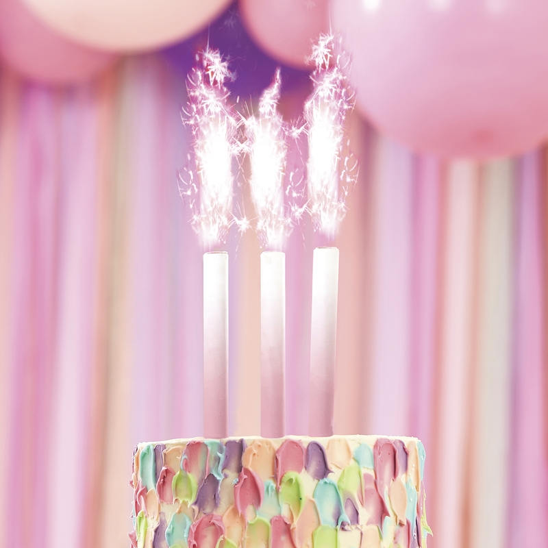 Wunderkerzen Tortenfeuerwerk rosa 3er Set