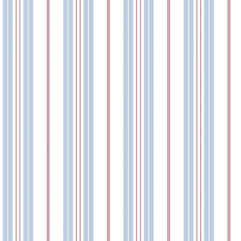 Vliestapete 'Streifen' hellblau/rot