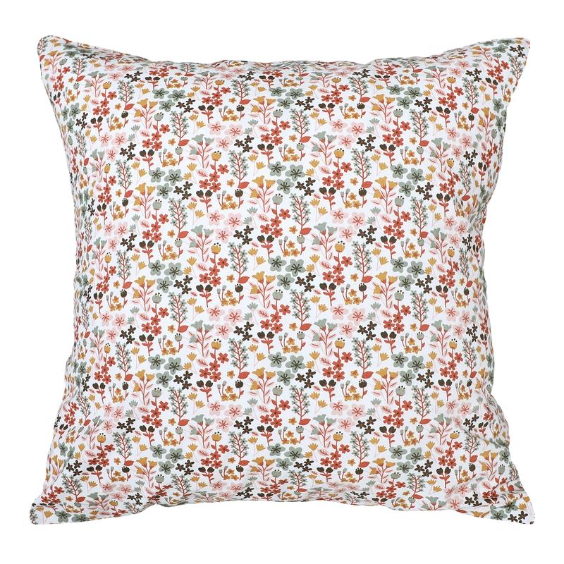 Kissenbezug 'Blumen' rostrot 50x50cm