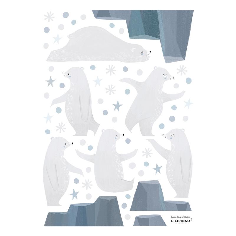 Wandsticker 'Arctic' Eisbären grau/blau