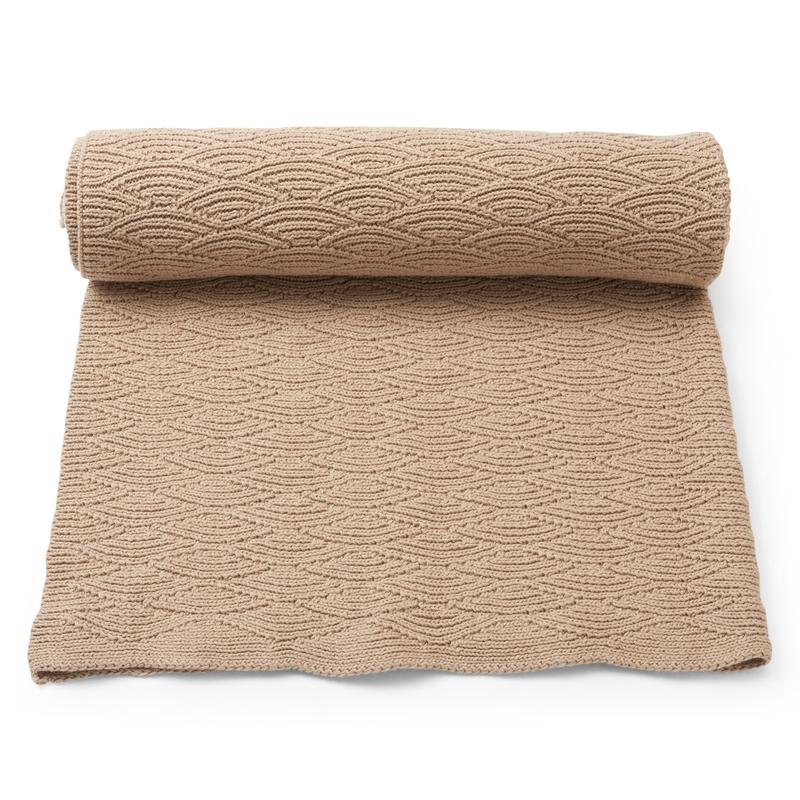 Strickdecke Baumwolle beige ca. 70x100cm
