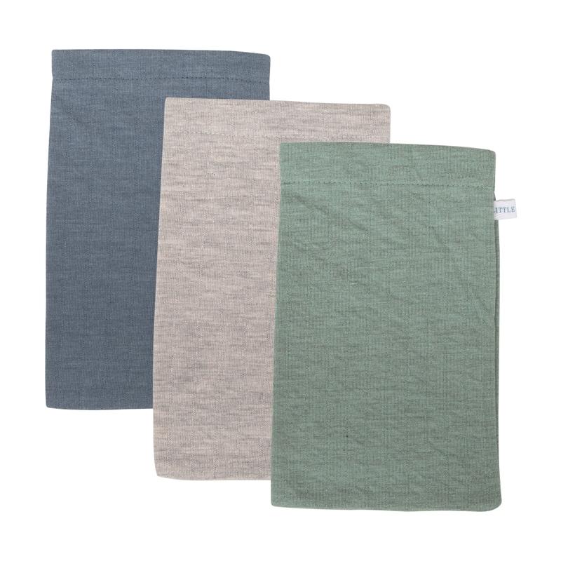 Waschlappen 'Pure' blau/jade 3er Set