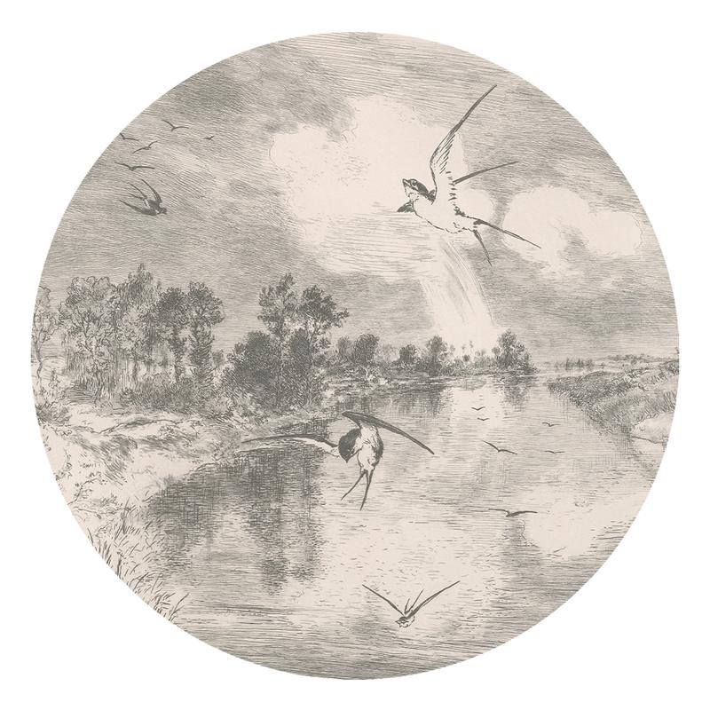 XL-Wandsticker 'Landschaft' rund grau