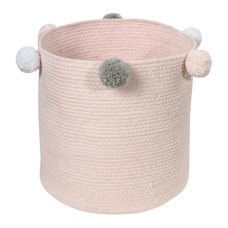 Aufbewahrungskorb mit Pompons rosa 30cm