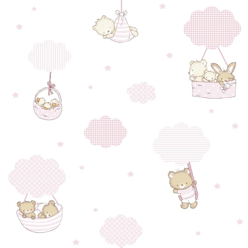 Kindertapete 'Bärchen & Wolken' rosa/beige