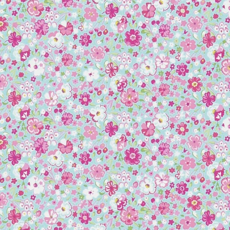 Kinderzimmer Stoff 'Blüten' aqua/rosa