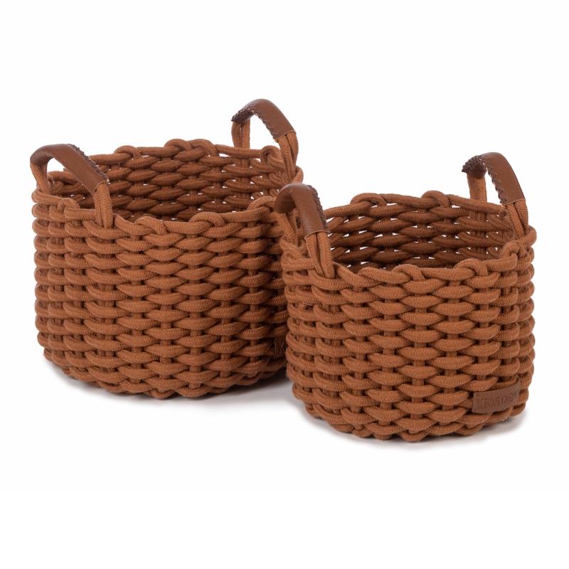 Flechtkörbe aus Baumwolle rost 2er Set