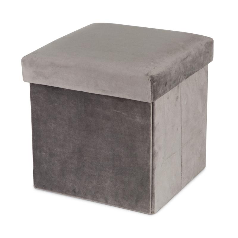 Aufbewahrungsbox aus Samt grau 30cm