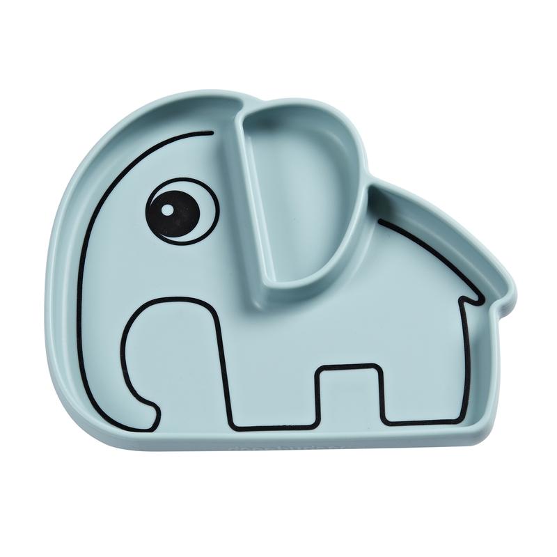 Silikonteller 'Stick & Stay' Elphee Elefant blau