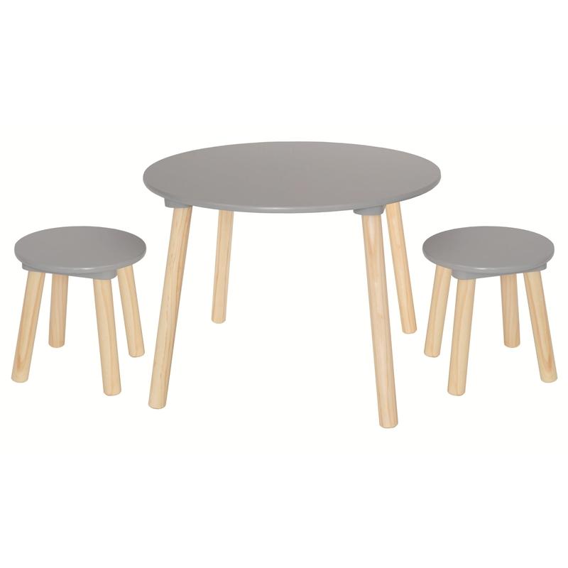 Kindertisch & 2 Hocker Naturholz/grau