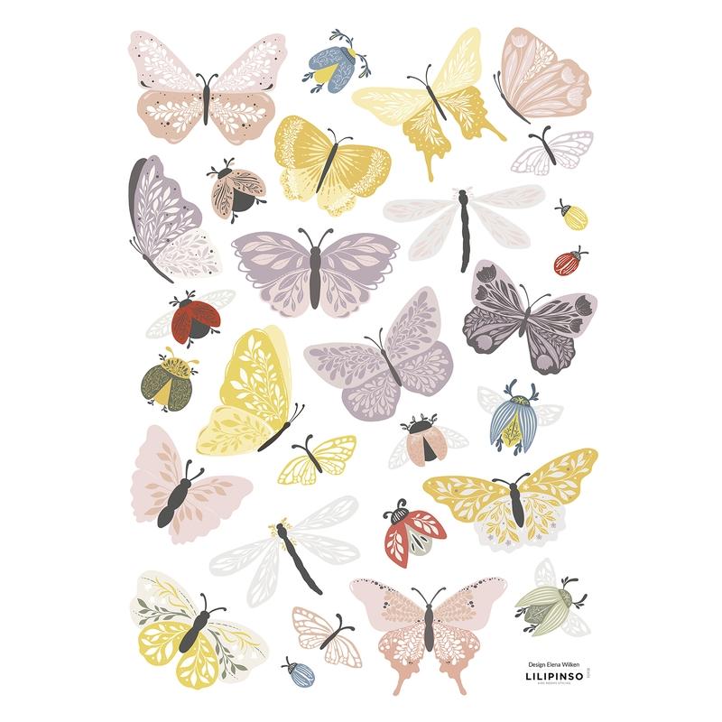 Wandsticker Schmetterlinge 'Countryside' lila/rosa