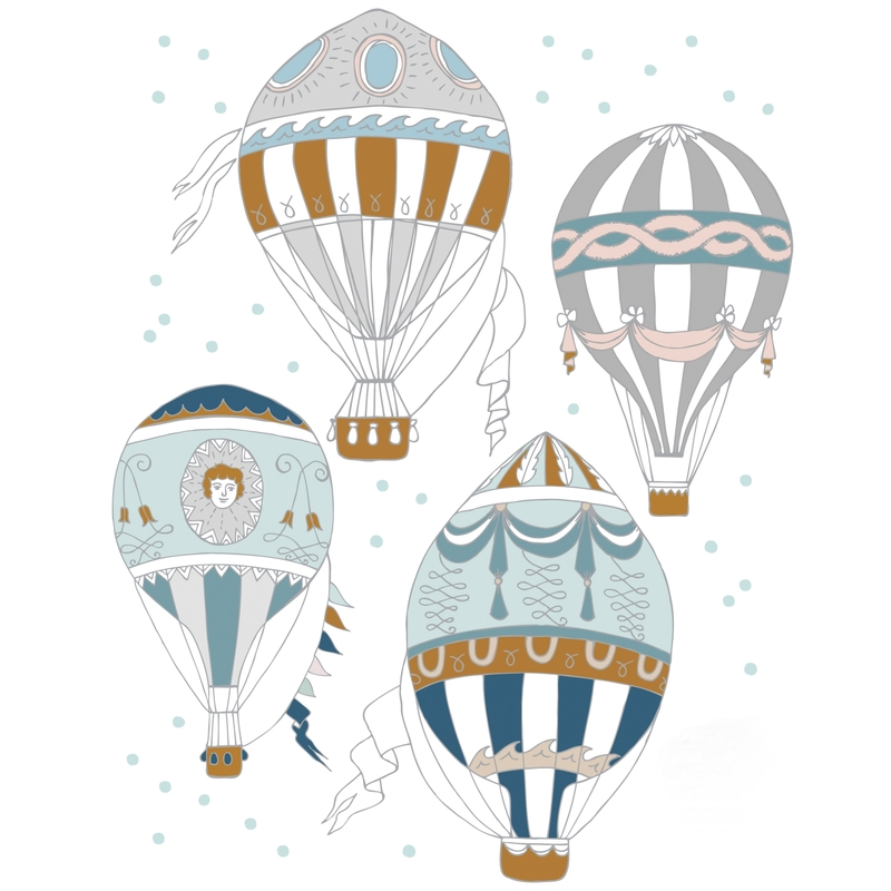 Wandsticker 'Heißluftballons' blau/camel