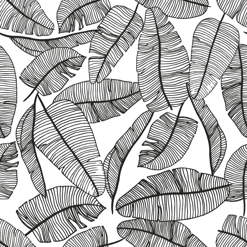 Vliestapete 'Dschungelblätter' schwarz/weiß
