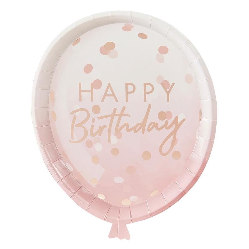 Pappteller 'Luftballon' roségold 8 St.