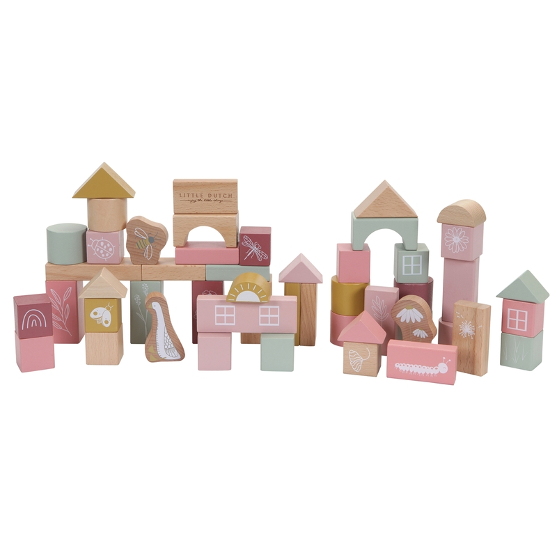 Holzbausteine rosa/senf 50-tlg. ab 2 Jahren