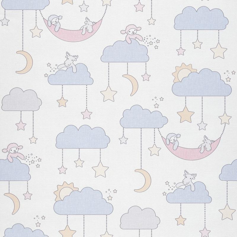 Tapete Wolken/Tierchen blau 'Jack 'N Rose 2'