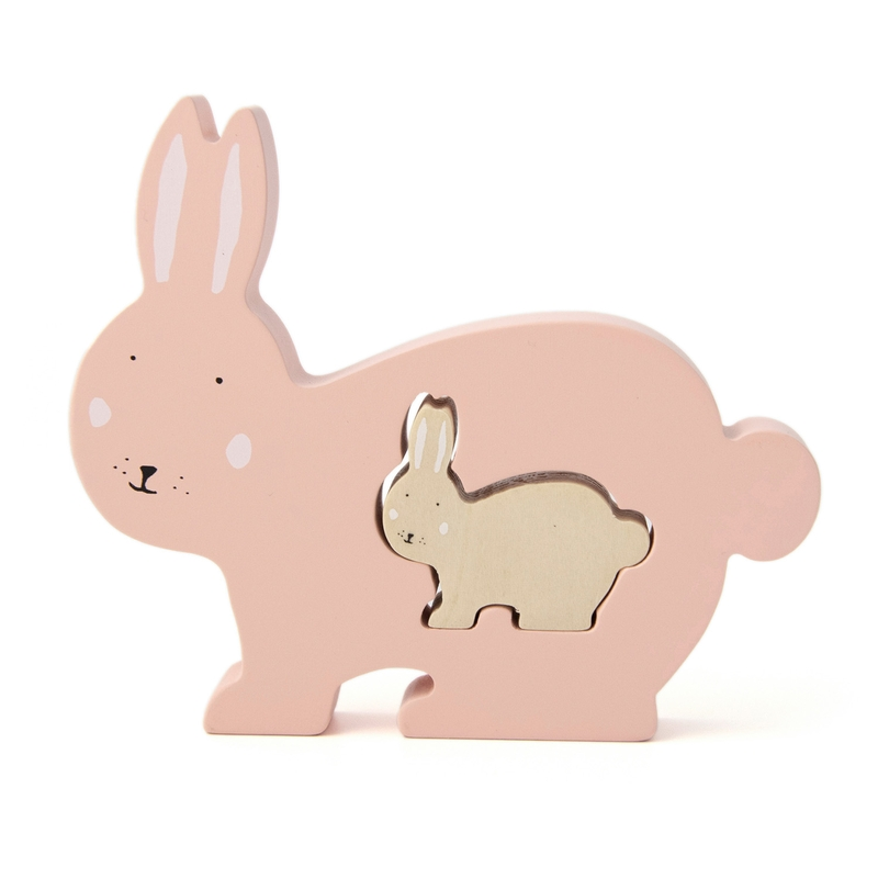 Baby Puzzle 'Hase' aus Holz puderrosa ab 1 Jahr