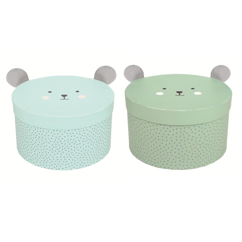 Aufbewahrungsboxen 'Bär' aqua/grün 2er Set