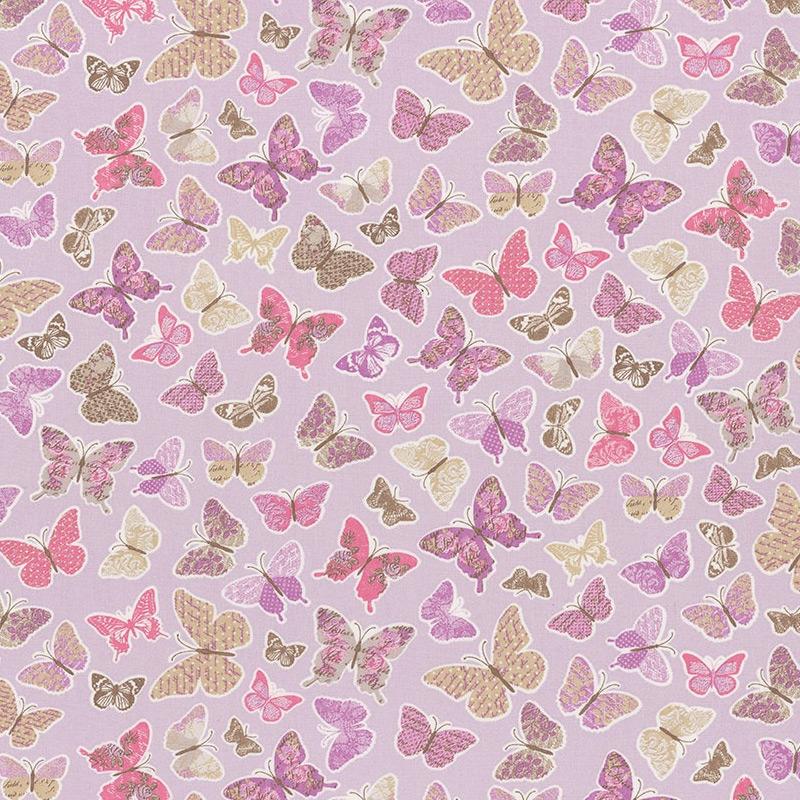 Stoff 'Schmetterlinge' flieder 'Pretty Lili'