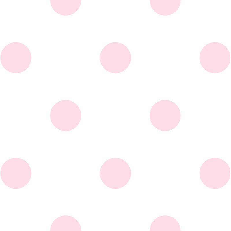 Kindertapete 'XL Punkte' weiß/rosa