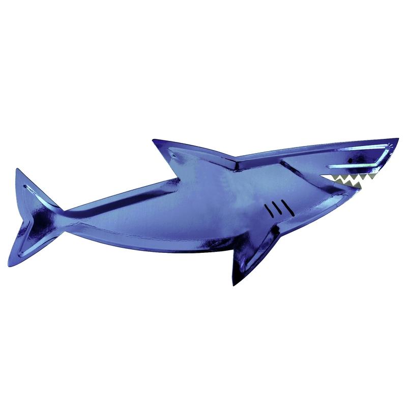 Großer Party Pappteller 'Hai' glänzend blau 4 Stk.