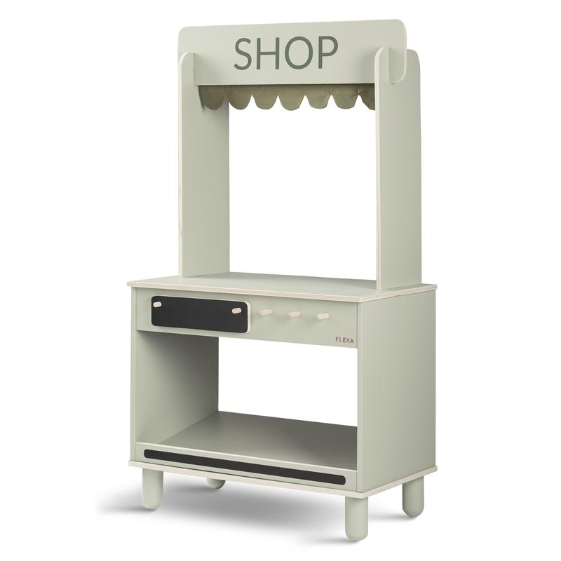 Shop/Kaufladen aus Holz softgrün ab 3 Jahren