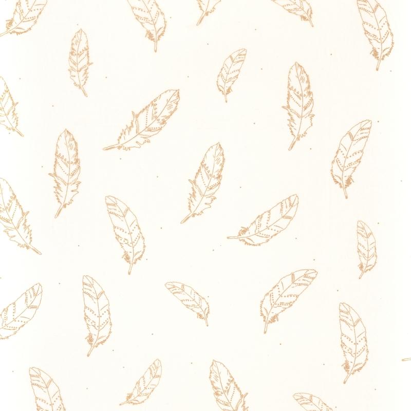 Stoff Federn weiß/gold transparent H 296cm