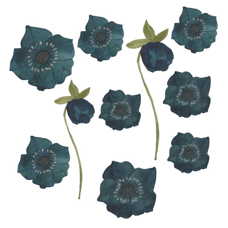 Stoff-Wandsticker 'Blumen' petrol 10-tlg.