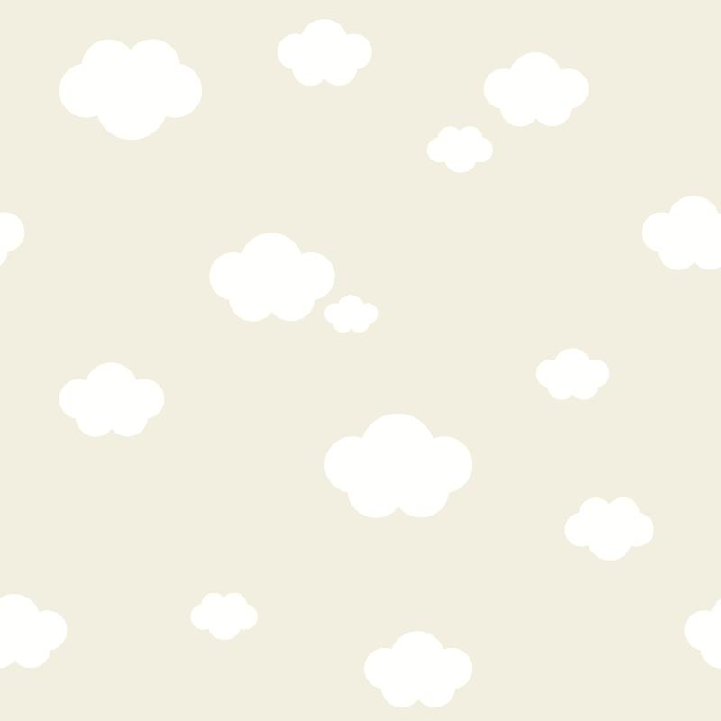 Kindertapete 'Wolken' beige/weiß