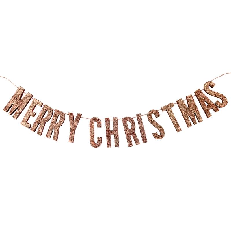 Holzgirlande 'Merry Christmas' roségold