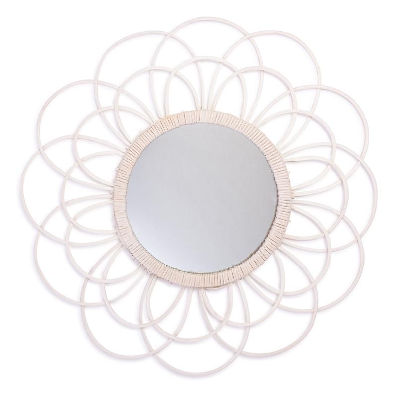 Sonnenspiegel 'Zoom' aus Rattan weiß 45cm